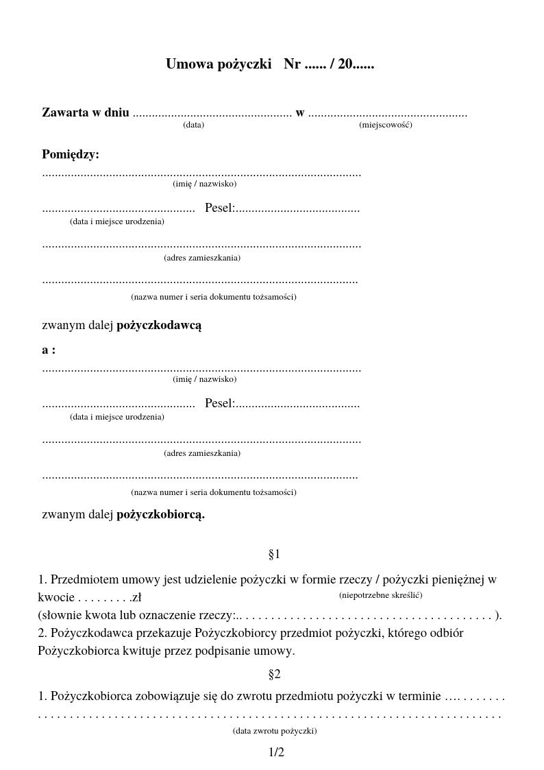 Obraz przedstawiający wzór umowy pożyczki.