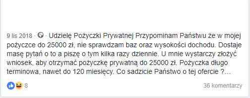 Obraz przedstawiający ogłoszenie na portali Facebook, które dotyczy udzielenia pożyczki prywatnej.